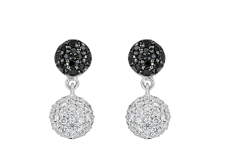 Rhonda Faber Green Small 'Diamond Dot' Earrings in 18K White Gold