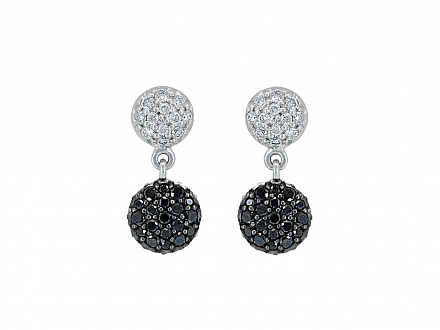 Rhonda Faber Green 'Mini Diamond Dot' Earrings in 18K White Gold