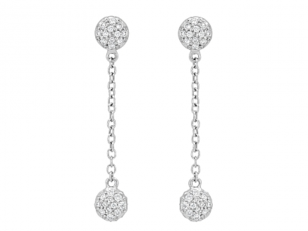 Rhonda Faber Green 'Diamond Dot' Dangle Earrings in 18K White Gold