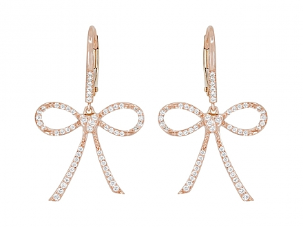 Rhonda Faber Green Diamond 'Bow & Heart' Earrings in 18K Rose Gold