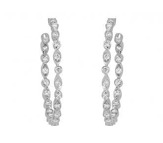 Tiffany & Co. 'Jazz' Diamond Hoop Earrings in Platinum