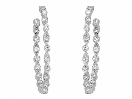 Tiffany & Co. 'Jazz' Diamond Hoop Earrings in Platinum