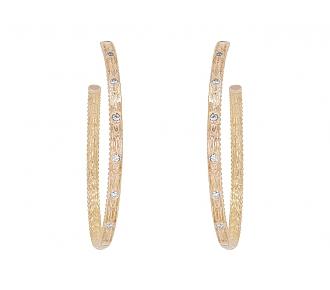 Diamond Hoop Earrings in 18K Rose Gold