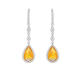 Rhonda Faber Green Orange Opal and Diamond Drop Earrings in 18K White Gold