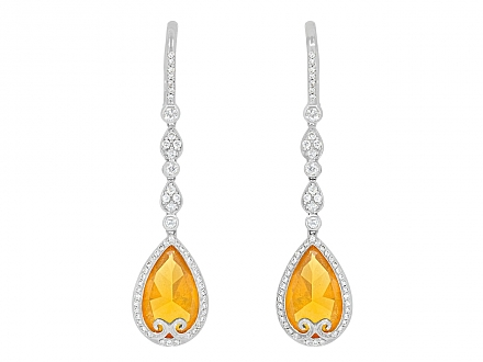 Rhonda Faber Green Orange Opal and Diamond Drop Earrings in 18K White Gold
