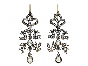 Antique-style Diamond Chandelier Earrings in Silver over Gold