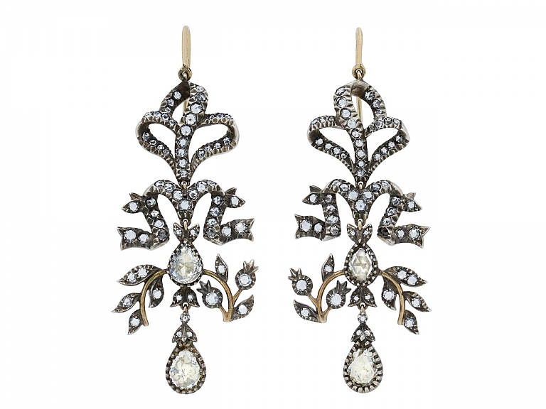 Video of Antique-style Diamond Chandelier Earrings in Silver over Gold