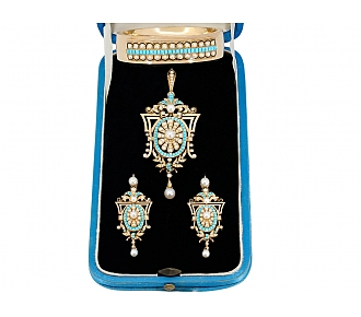 Antique Victorian Turquoise Suite of Locket Pendant/Brooch, Earrings and Bracelet