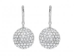 Beladora 'Bespoke' Rose-cut Diamond Ball Earrings in 18K White Gold