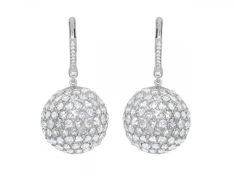 Video of Beladora 'Bespoke' Rose-cut Diamond Ball Earrings in 18K White Gold
