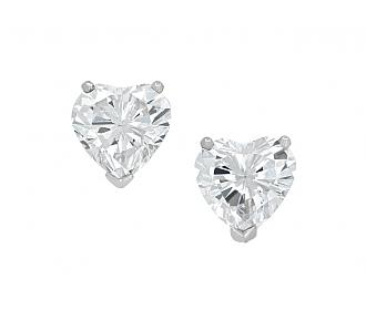Beladora Heart-Shaped Diamond Stud Earrings in Platinum, 1.86 total carats