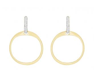 Hoop Earrings with Diamond Tops in 18K Gold, by Beladora