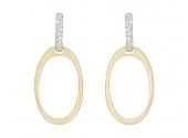Oval Hoop Earrings with Diamond Tops in 18K Gold, by Beladora