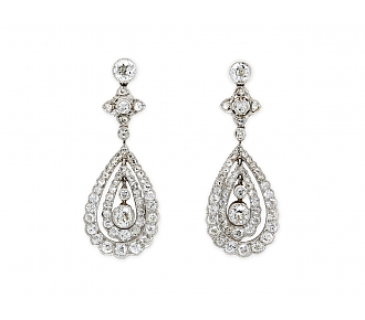 Antique Edwardian Diamond Earrings in Platinum
