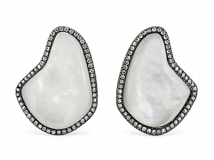 Mother-of-Pearl and Diamond Earrings in Blackened Gold