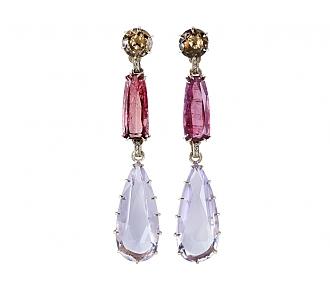 Pink Tourmaline and Quartz Ear pendants in 18K Gold
