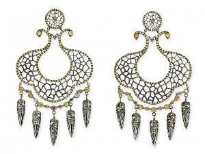 Loree Rodkin Dreamcatcher Earrings in 18K Blackened Gold
