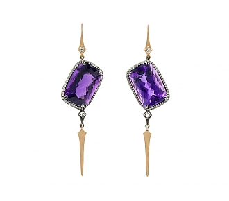 Parulina 'Crooked Queen' Amethyst and Diamond Earrings in Silver and 18K