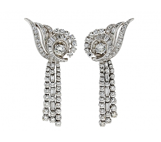 Mid-Century Nautilus-style Diamond Earrings with Detachable Diamond Lines in Platinum