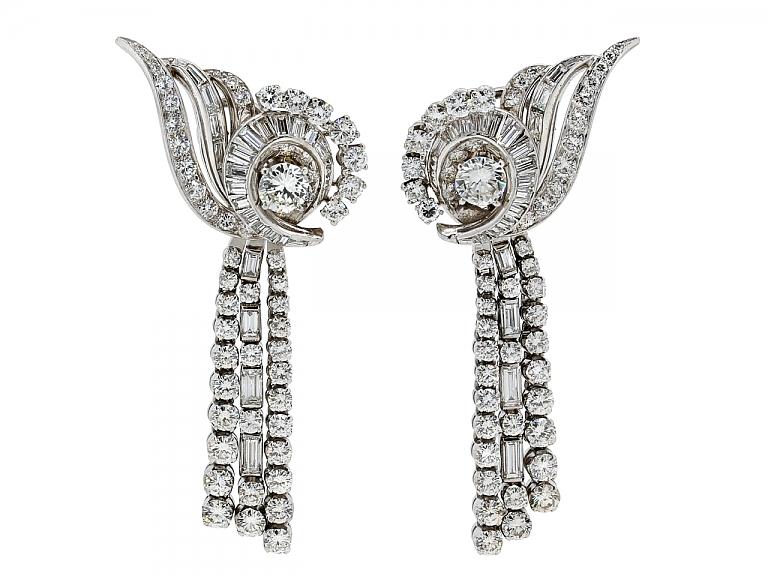Video of Mid-Century Nautilus-style Diamond Earrings with Detachable Diamond Lines in Platinum