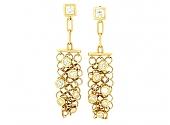 Chainmail Diamond Earrings in 18K Gold
