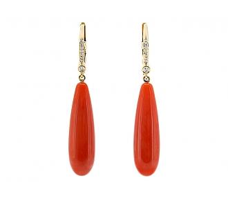 Beladora 'Bespoke' Carnelian and Diamond Dangle Earrings in 18K Gold