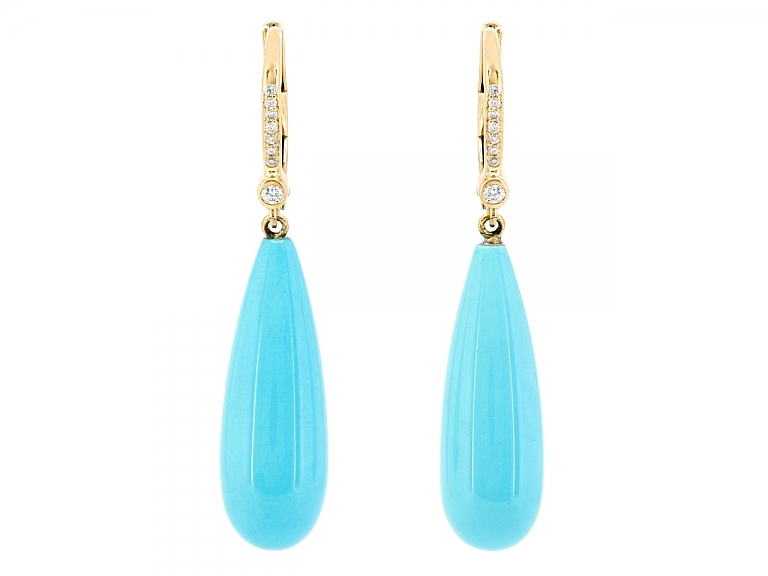 Video of Beladora 'Bespoke' Turquoise and Diamond Dangle Earrings in 18K Gold