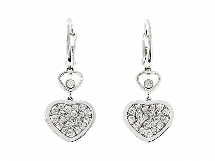 Chopard 'Happy Hearts' Diamond Earrings in 18K White Gold
