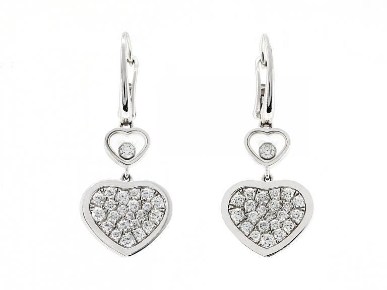 Video of Chopard 'Happy Hearts' Diamond Earrings in 18K White Gold