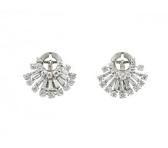 Mid-Century Diamond Fan Earrings in Platinum