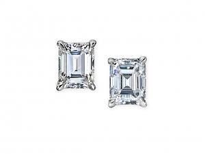 Beladora Emerald Cut Diamond Stud Earrings, 1.76 total carats, in Platinum