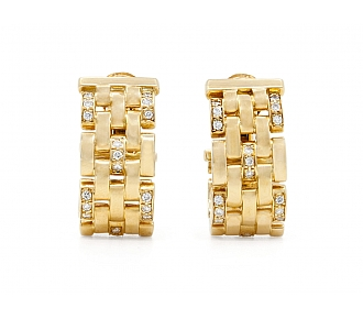 Cartier Panthere Maillon Diamond Earrings in 18K Gold