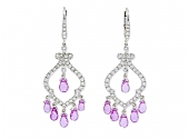Diamond and Pink Sapphire Chandelier Earrings in 18K White Gold