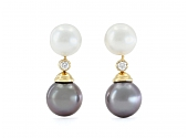 Tahitian and South Sea Pearl and Diamond Earrings in 18K Gold