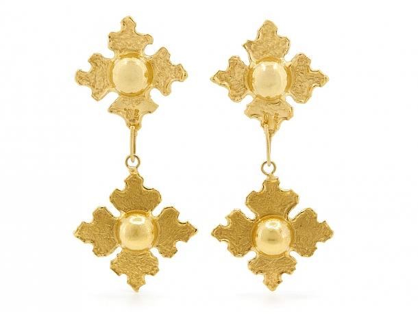 Jean Mahie Earrings with Interchangeable Drops in 22K Gold