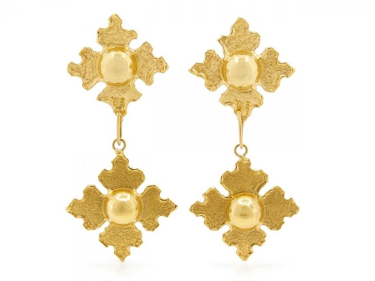 Video of Jean Mahie Earrings with Interchangeable Drops in 22K Gold
