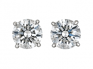 Diamond Stud Earrings, 4.24 total carats Triple Ex, in Platinum