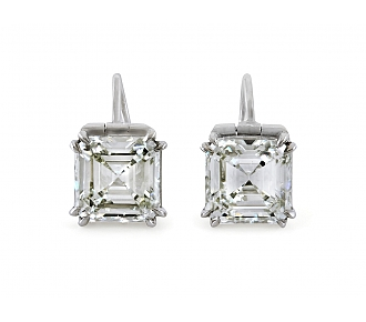 Square Emerald-cut Diamond Earrings, 6.25 carats total, J/VVS-2, in Platinum