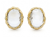 David Webb Crystal and Diamond Earclips in 18K Gold