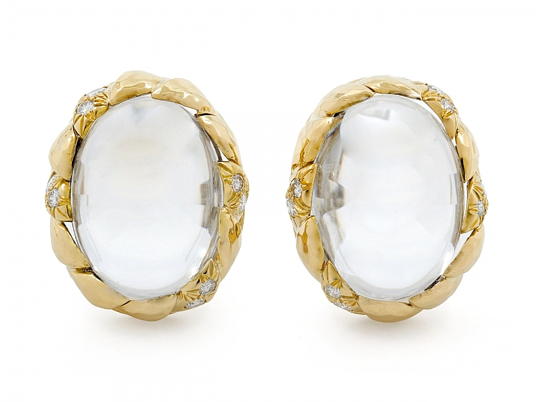 Video of David Webb Crystal and Diamond Earclips in 18K Gold