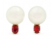 South Sea Pearl and Ruby Earclips in 18K