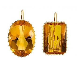 Renee Lewis 'Mis-matched' Citrine Earrings in 18K Gold