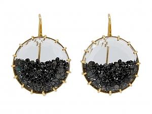 Renee Lewis Black Diamond 'Shake' Earrings in 18K Gold