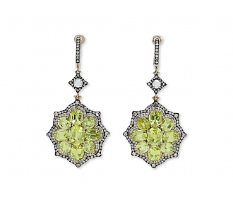IVY Chrysoberyl and Diamond Earrings in 18k Rose Gold