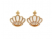 Cynthia Bach Crown Diamond and Mother-of-Pearl Earrings in 18K Gold
