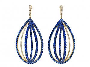 Ivy Sapphire and Diamond Oval Earrings