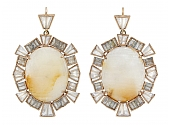 Nak Armstrong White Sapphire and Moonstone Drop Earrings in 18K Gold