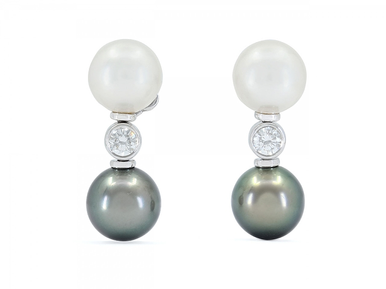 Video of South Sea and Tahitian Pearl and Diamond Earrings in 18K White Gold