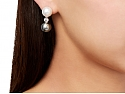 South Sea and Tahitian Pearl and Diamond Earrings in 18K White Gold