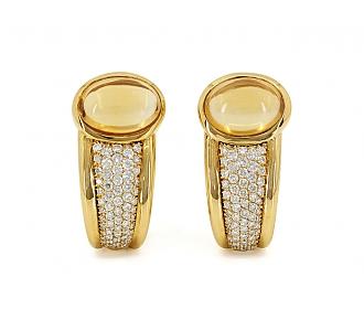 Citrine and Diamond Earrings in 18K Gold